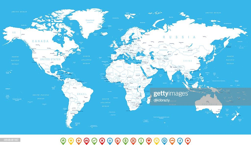White World Map and navigation icons - illustration