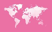 white world map on pink