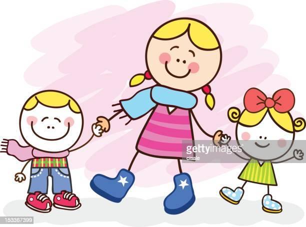 illustrations, cliparts, dessins animés et icônes de blanc jeune mère et enfants dessin illustration - assistante maternelle