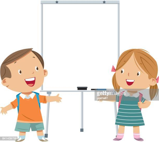 whiteboard and kids - presentation speech stock illustrations
