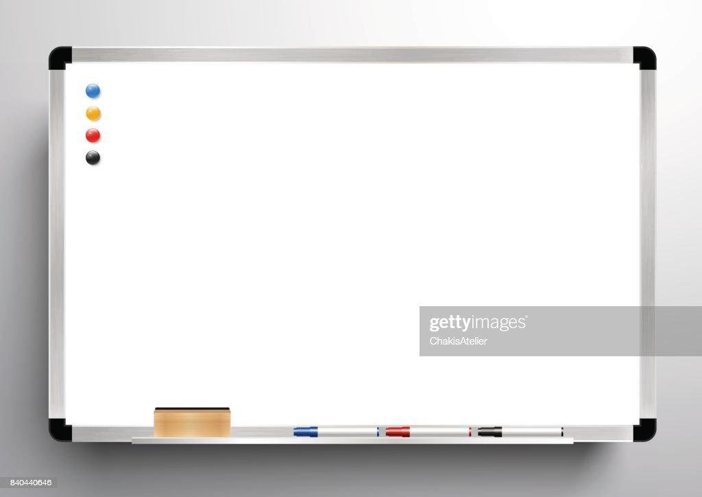 whiteboard background frame, eraser whiteboard, color marker and magnetic, vector