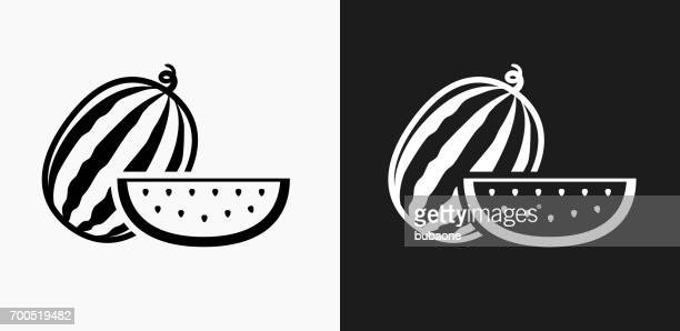 Whole and Sliced Watermelon Icon on Black and White Vector Backgrounds