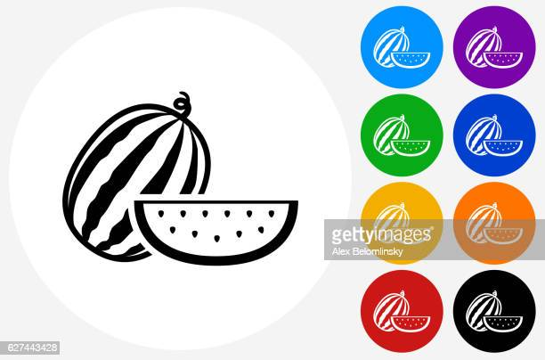 Whole and Sliced Watermelon Icon on Flat Color Circle Buttons