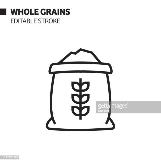 全粒穀線アイコン、アウトライン ベクトル シンボルの図。ピクセルパーフェクト、編集可能なストローク。 - 布の袋点のイラスト素材/クリップアート素材/マンガ素材/アイコン素材