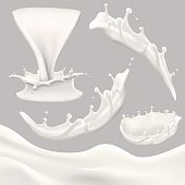 whole milk big set, pouring and splashing milk, glass, carton, jug, bottle