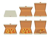 Whole pizza and slices of pizza in closed and open white box.Isolated vector flat illustration for poster, menus, logotype, brochure, web and icon.
