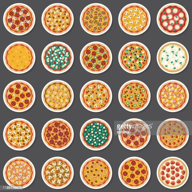 whole pizza sticker set - basil stock illustrations, clip art, cartoons, & icons
