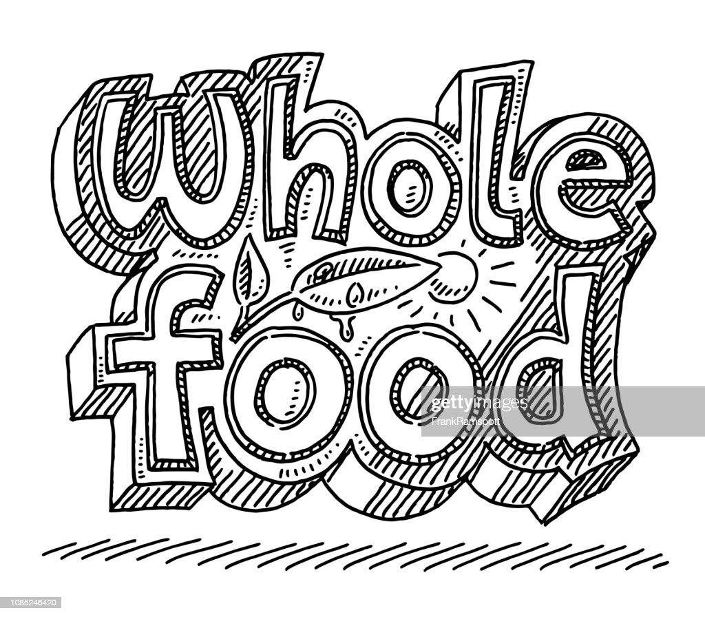 Vollwertküche Text beschriften Zeichnung : Stock-Illustration