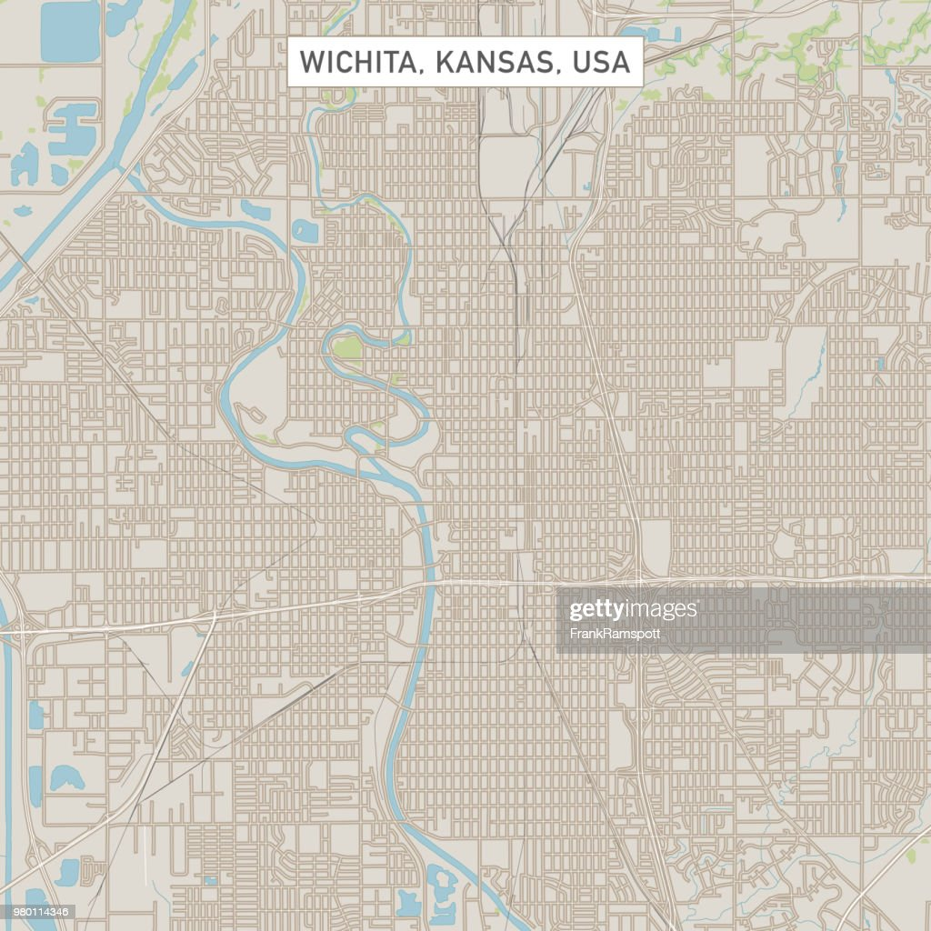 Wichita Kansas Us City Street Map Vector Art Getty Images