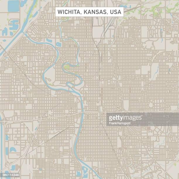 Wichita Kansas USA Stadtstraße Karte