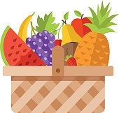 Wicker basket full of fruits. Modern flat design concepts
