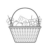 Wicker basket with fruits and dairy products icon in black flat outline design