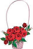 Wicker floral basket with red roses.