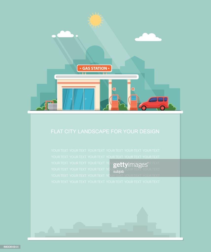 Wide copy space for text. Gas station. Oil, fueling petrol with shop. Red car on a pit stop on the city background. Flat landscape. Vector design