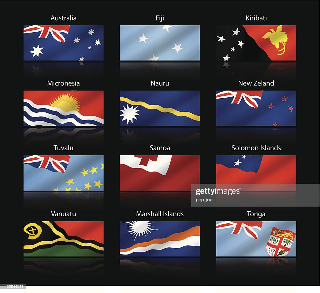 Wide cropped flags - Australia and Oceania : stock illustration
