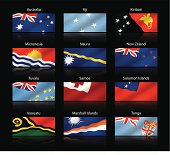 Wide cropped flags - Australia and Oceania