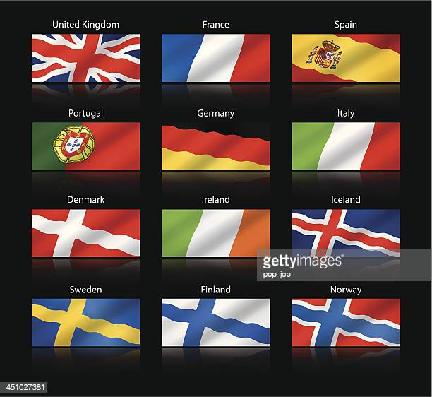 Wide cropped flags - Western and Nothern Europe