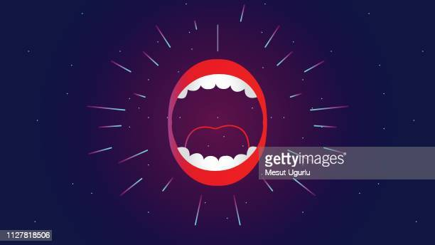 wide open mouth - lip gloss stock illustrations, clip art, cartoons, & icons