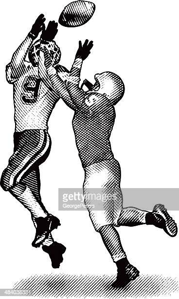 wide receiver making great catch - safety american football player stock illustrations, clip art, cartoons, & icons