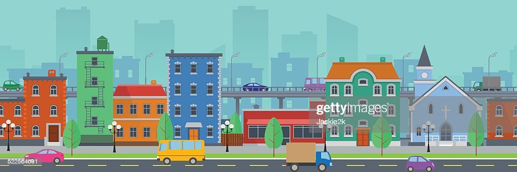 Wide screen cityscape in flat style