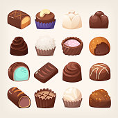 Wide selection of chocolate sweets of various forms with different fillings and toppings. Isolated vector images.