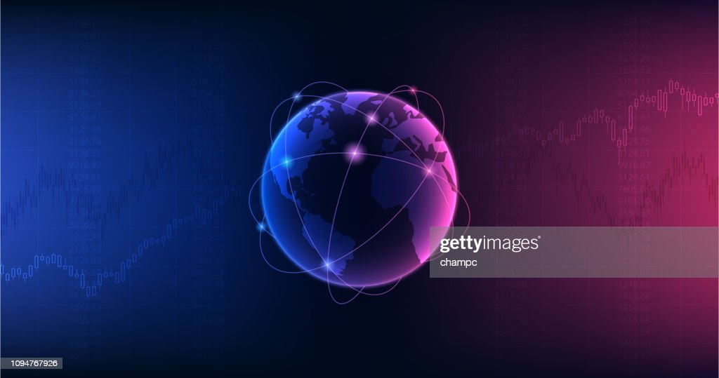 Widescreen Abstract financial graph with candlestick chart in stock market and globe on purple and blue color background