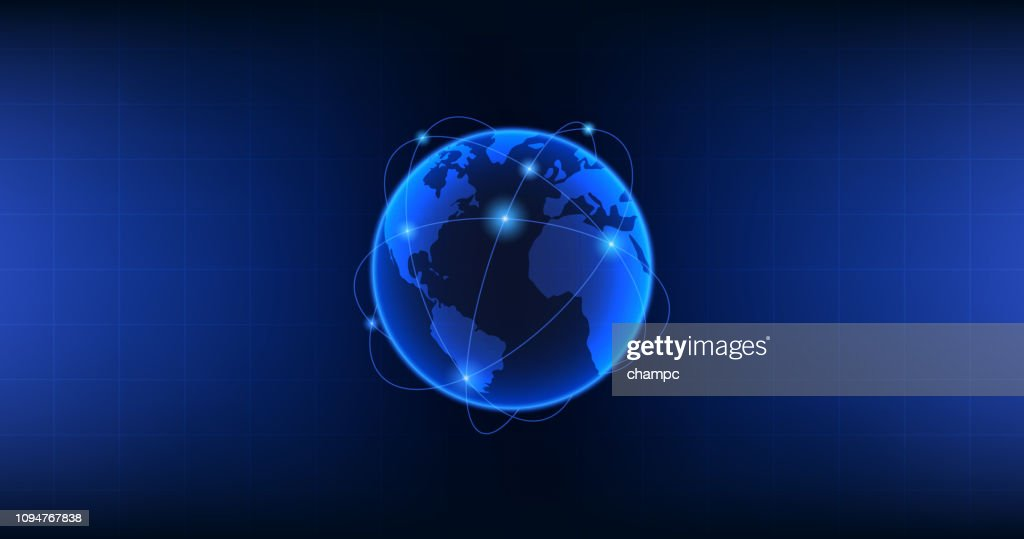 Widescreen Abstract technology with globe network connection on blue color background