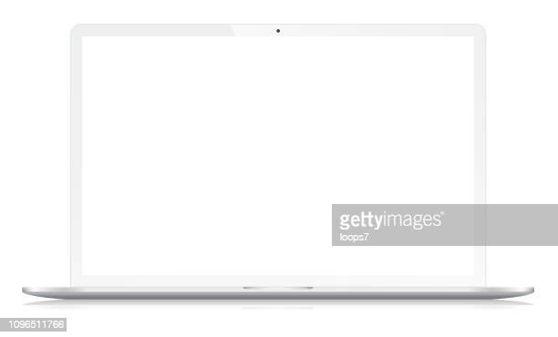 widescreen modern notebook on white - white stock illustrations