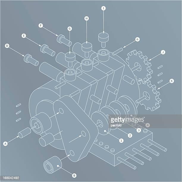 widget plans - fabricage apparatuur stock illustrations