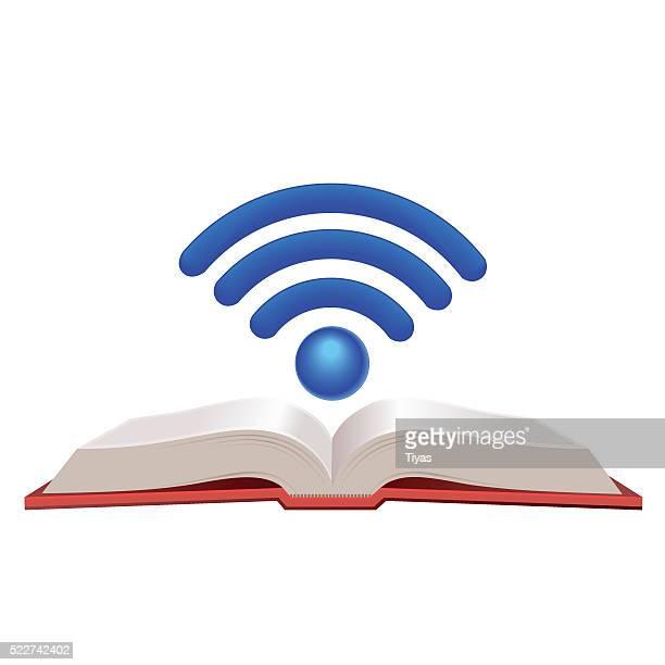 wifi book - encyclopaedia stock illustrations, clip art, cartoons, & icons