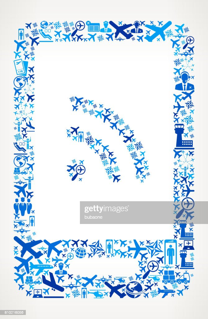 WiFi Connection on Smart Phone Aviation and Air Planes Vector Graphic : stock illustration