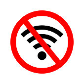 Wifi error. Wifi signal offline. Icon of off internet. Bad wireless connection of internet. Symbol of wi-fi antena. Sign of lost signal. zone of ban communication. Stop or jamming of network. Vector