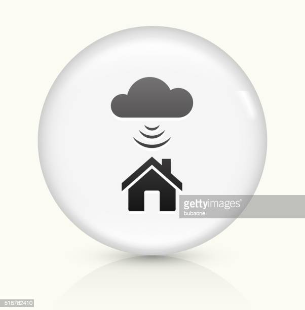 Wi-Fi House icon on white round vector button