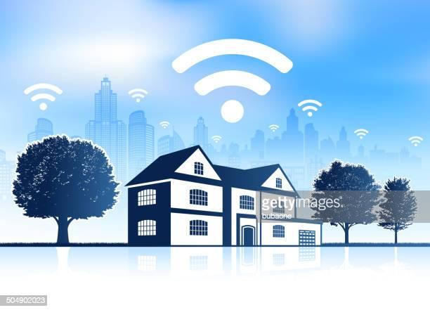 Wi-Fi House on panoramic city skyline Background