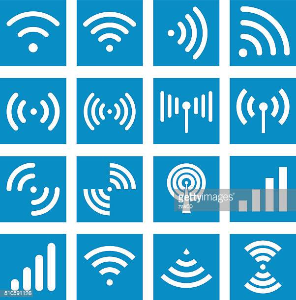 wifi icons - illustration - wireless technology stock illustrations