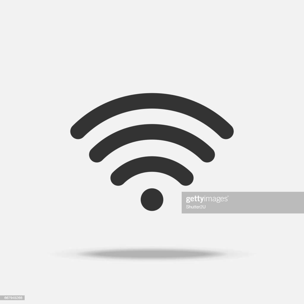Wifi internet flat icon with shadow