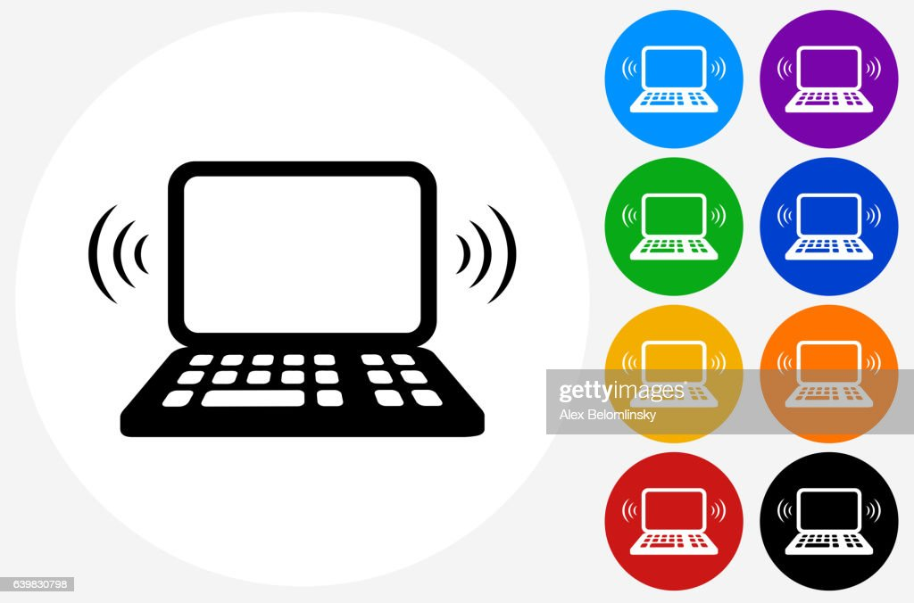 wifi laptop icon on flat color circle buttons vector art getty images