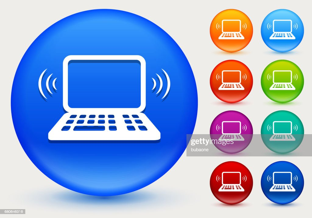 wifi laptop icon on shiny color circle buttons vector art getty images