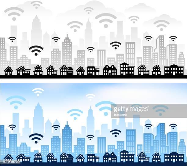 Accès Wi-Fi, vue panoramique sur la ville de couleur feu