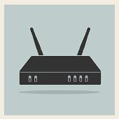 Wi-Fi Router on Retro Background Vector