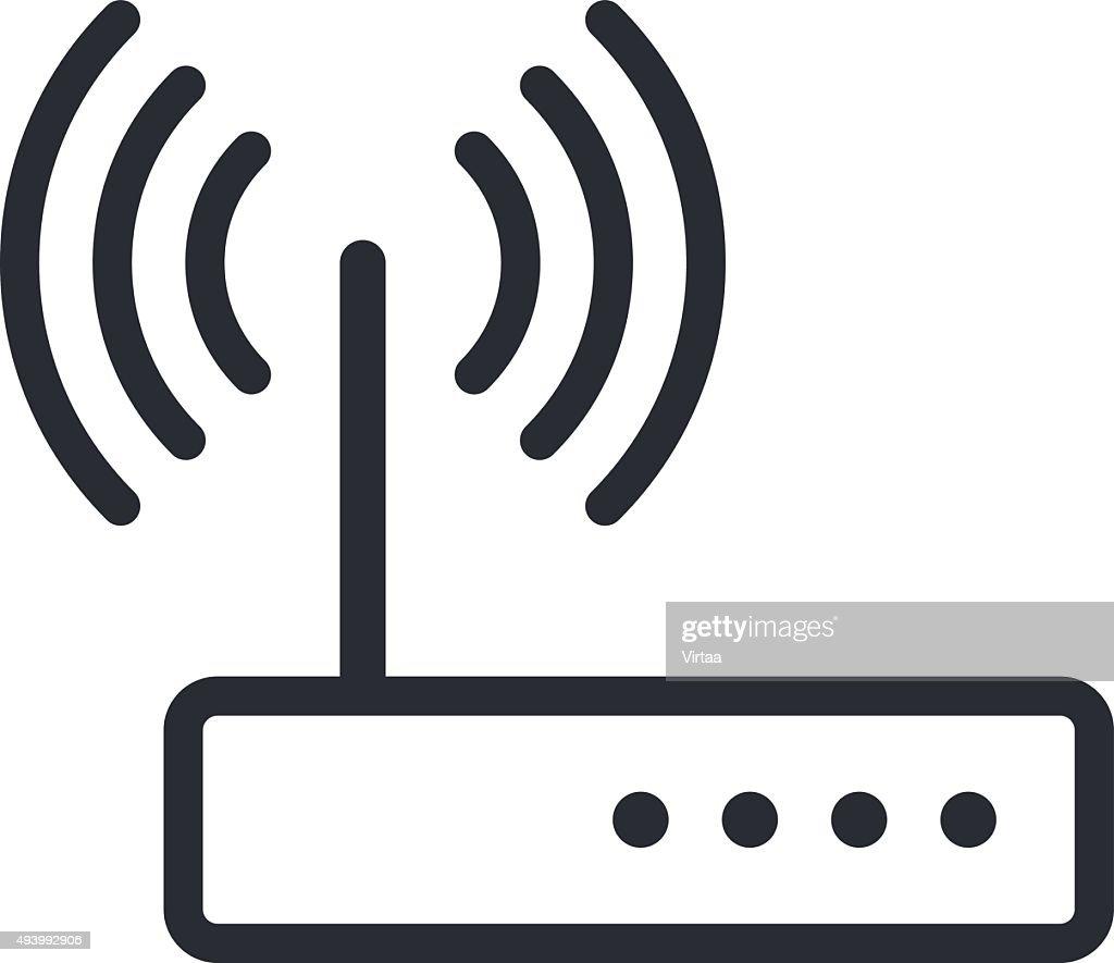 Wi-fi router outline icon, modern minimal flat design style