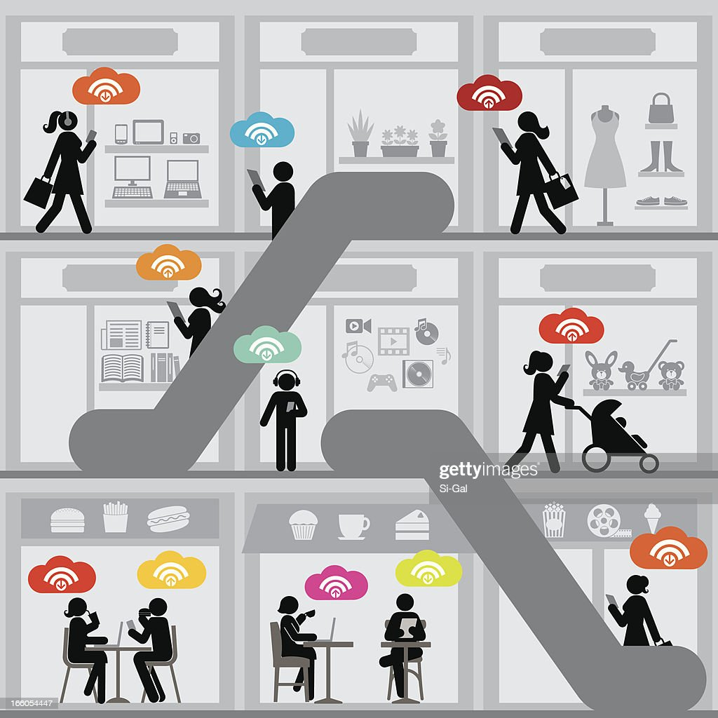Wifi Shopping Mall Vector Art Getty Images