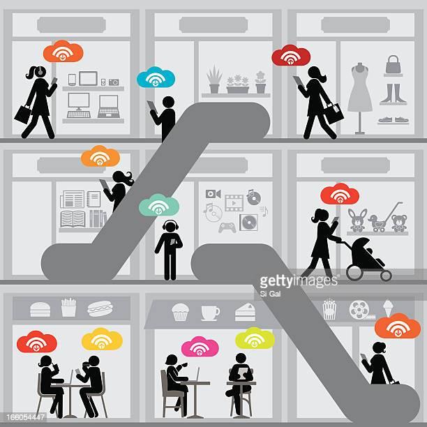 ilustrações, clipart, desenhos animados e ícones de shopping center wi-fi gratuito - livraria