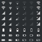 wi-fi signal icons, battery energy, mobile signal level icons set