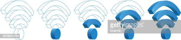 wifi signal - wireless technology stock illustrations