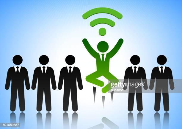 wi-fi-strichmännchen erfolg - wurf oder sprungdisziplin herren stock-grafiken, -clipart, -cartoons und -symbole