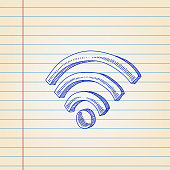 Wi-Fi Symbol Drawing on Ruled Paper