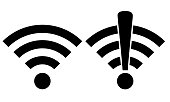 WiFi Symbols, Connected and Not Connected
