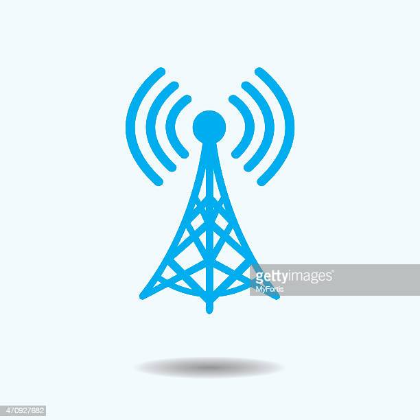 stockillustraties, clipart, cartoons en iconen met wifi tower - draadloze technologie