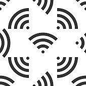 WiFi wireless internet network symbol icon seamless pattern on white background. Flat design. Vector Illustration